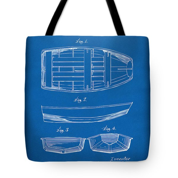 1938 Rowboat Patent Artwork - Blueprint Tote Bag by Nikki Marie Smith