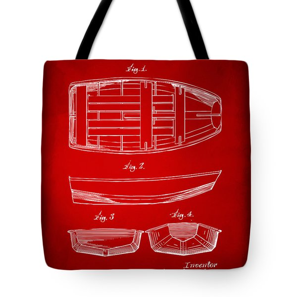 1938 Rowboat Patent Artwork - Red Tote Bag by Nikki Marie Smith
