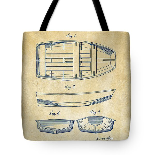 1938 Rowboat Patent Artwork - Vintage Tote Bag by Nikki Marie Smith