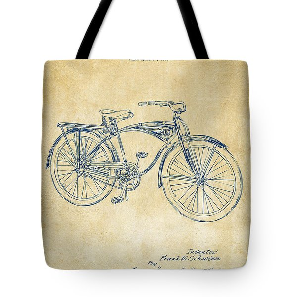 1939 Schwinn Bicycle Patent Artwork Vintage Tote Bag