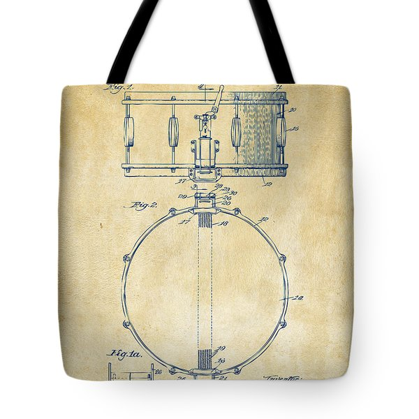 1939 Snare Drum Patent Vintage Tote Bag by Nikki Marie Smith