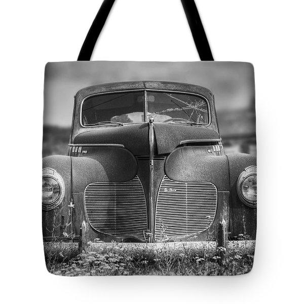 1940 Desoto Deluxe Black And White Tote Bag