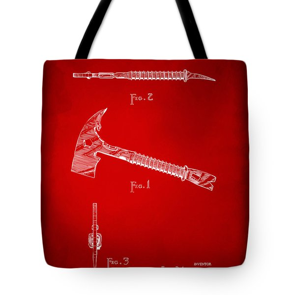 1940 Firemans Axe Artwork Red Tote Bag