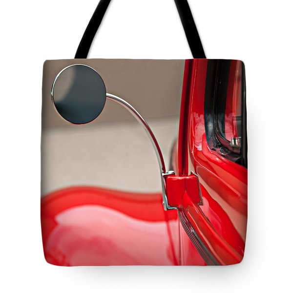 Tote Bag featuring the photograph 1940 Ford Deluxe Coupe Rear View Mirror by Jill Reger