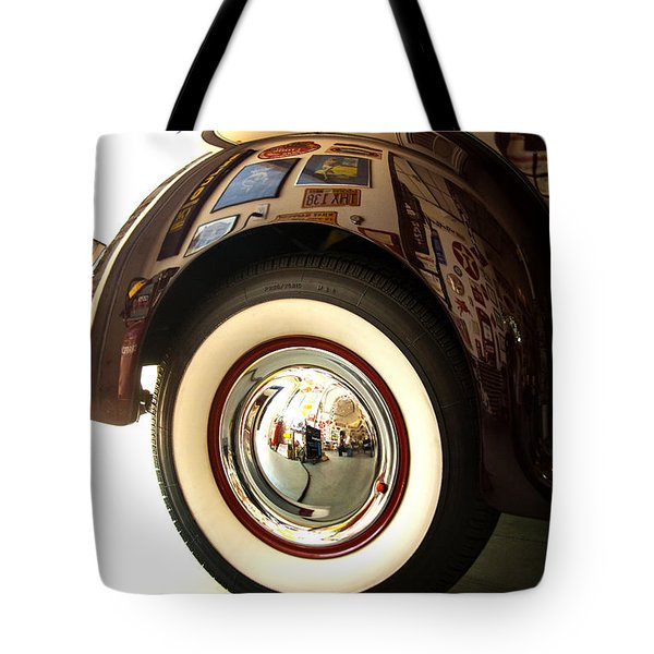 Tote Bag featuring the photograph Classic Maroon 1940 Ford Rear Fender And Wheel   by Jerry Cowart