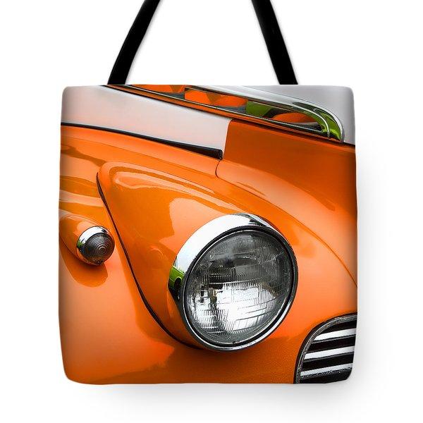 1940 Orange And White Chevrolet Sedan Square Tote Bag
