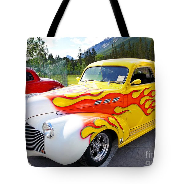 1940 Pontiac Coupe Breathing Fire Tote Bag