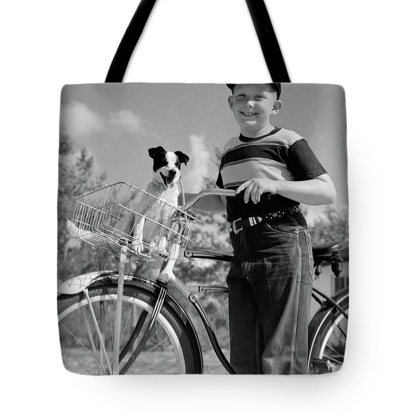 1940s 1950s Boy On Bike With Puppy Tote Bag