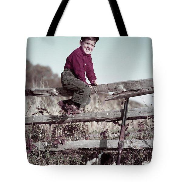 1940s 1950s Smiling Boy Climbing Tote Bag