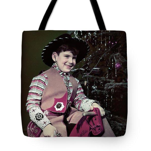1940s 1950s Smiling Boy Dressed Tote Bag