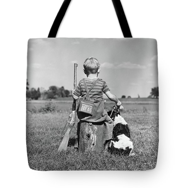 1940s Back View Of Boy Wearing Hunting Tote Bag