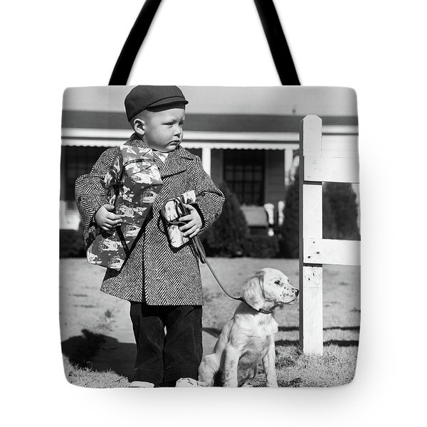 1940s Boy With Puppy On Leash Holding Tote Bag