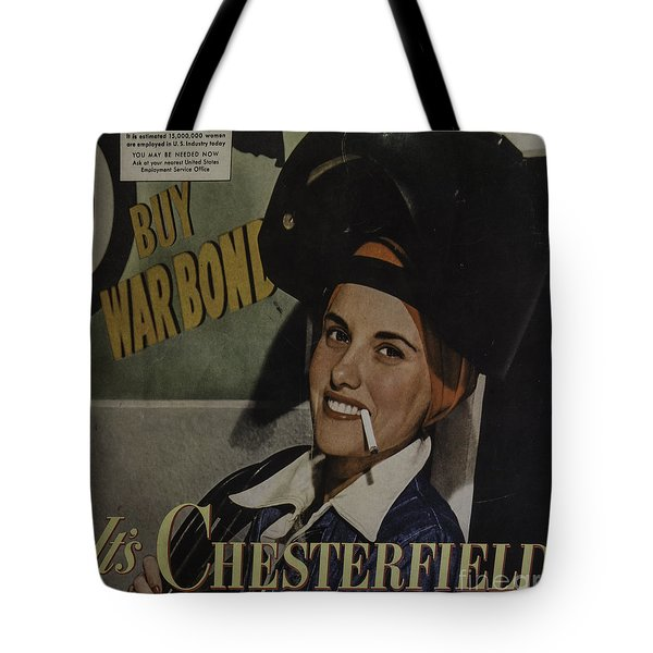 Tote Bag featuring the photograph 1940's Chesterfield Add by Mitch Shindelbower