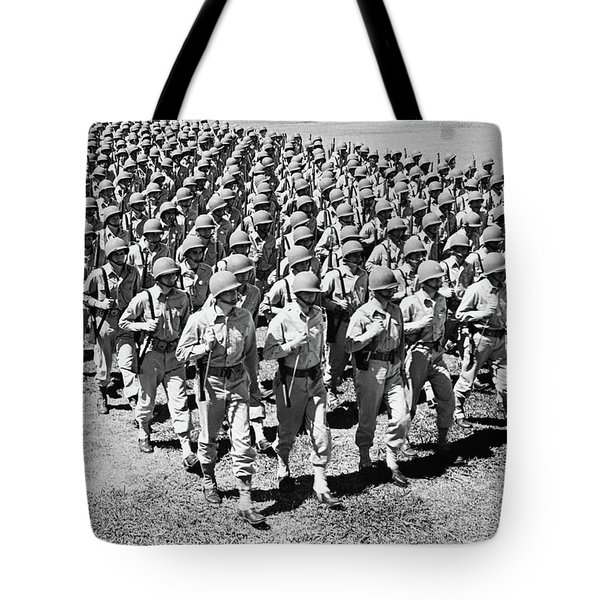 1940s Ranks And Files Rows Of World War Tote Bag