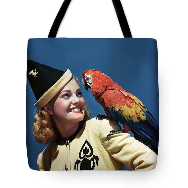 1940s Smiling Blond Woman Wearing Tote Bag