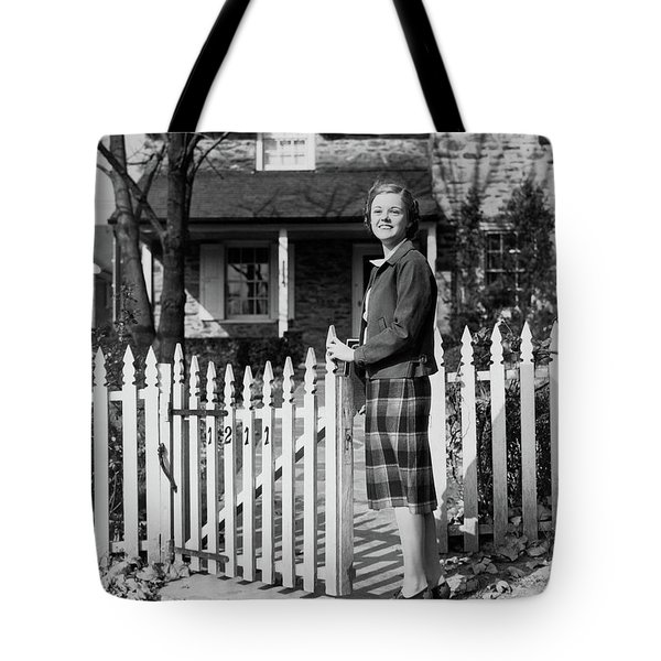 1940s Smiling Pretty Young Teenage Girl Tote Bag