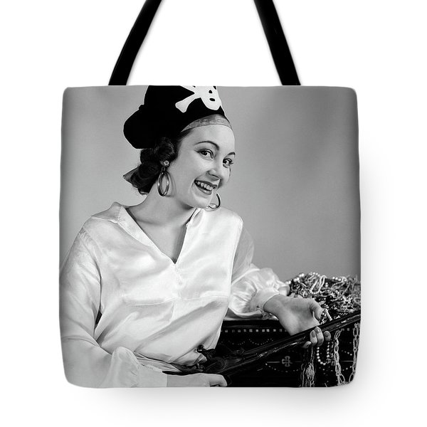 1940s Woman Wearing Pirate Costume Tote Bag
