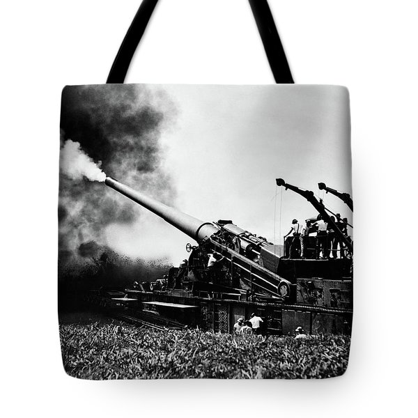 1940s Wwii Big Artillery Railroad Gun Tote Bag