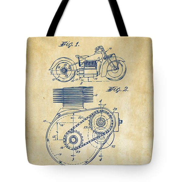 1941 Indian Motorcycle Patent Artwork - Vintage Tote Bag