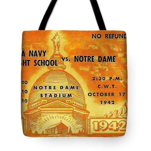 1942 Football Ticket Notre Dame Vs Iowa Navy Pre-flight Tote Bag