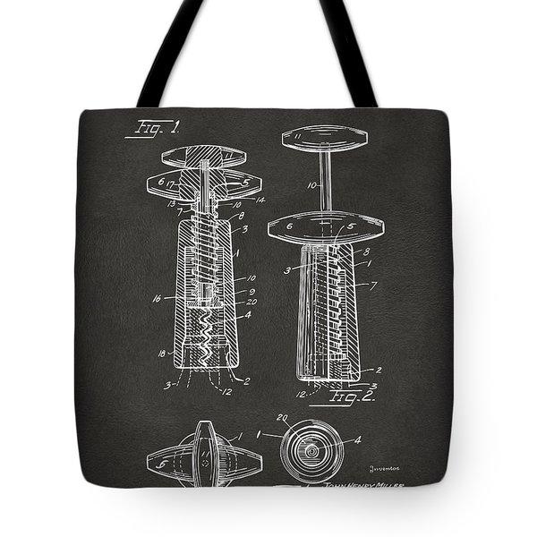 1944 Wine Corkscrew Patent Artwork - Gray Tote Bag by Nikki Marie Smith