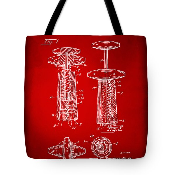 1944 Wine Corkscrew Patent Artwork - Red Tote Bag