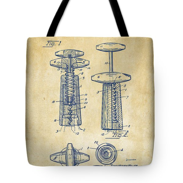 1944 Wine Corkscrew Patent Artwork - Vintage Tote Bag