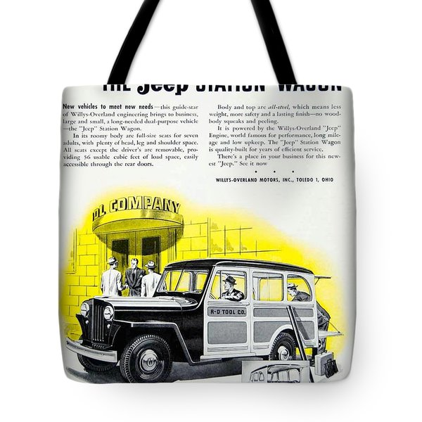 1946 - Willys Overland Jeep Station Wagon Advertisement - Color Tote Bag