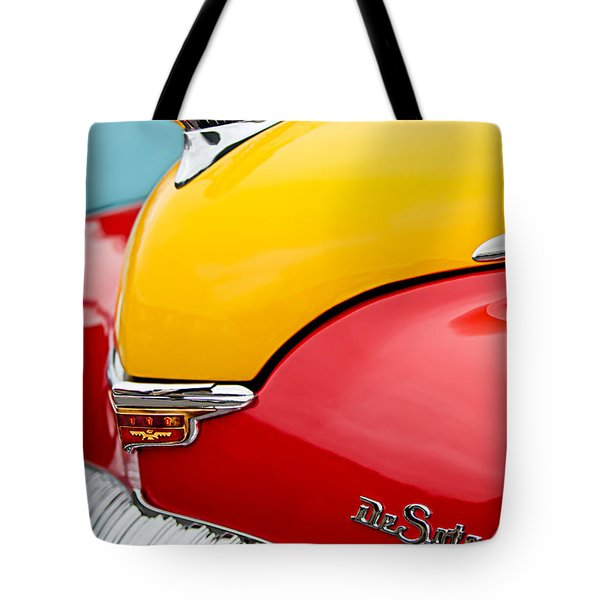 Tote Bag featuring the photograph 1946 Desoto Skyview Taxi Cab Hood Ornament by Jill Reger