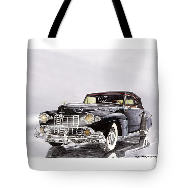 1946 Lincoln Continental Convertible Foggy Reflection Tote Bag by Jack Pumphrey