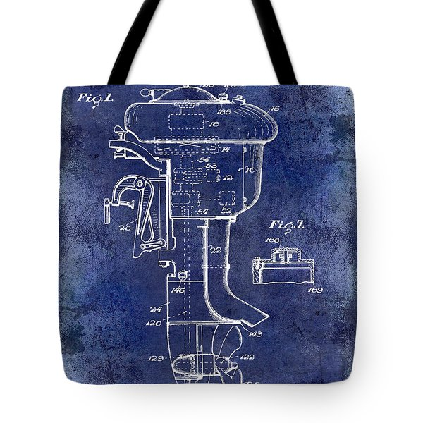 1947 Outboard Motor Patent Drawing Blue Tote Bag by Jon Neidert