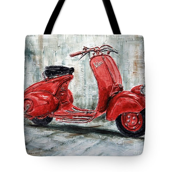 1947 Vespa 98 Scooter Tote Bag by Joey Agbayani