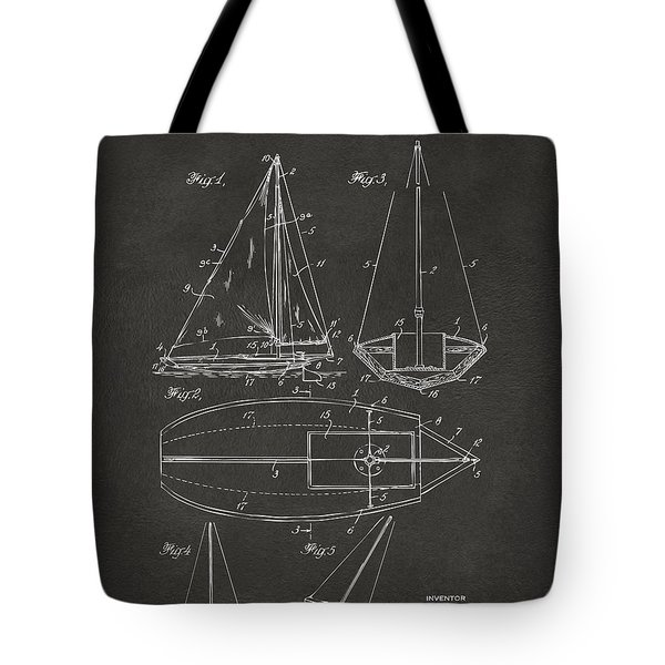 1948 Sailboat Patent Artwork - Gray Tote Bag by Nikki Marie Smith