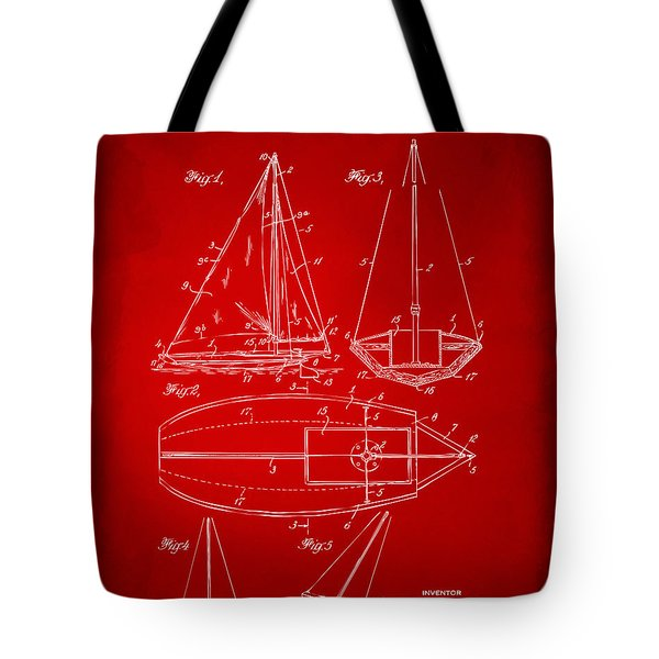 1948 Sailboat Patent Artwork - Red Tote Bag by Nikki Marie Smith