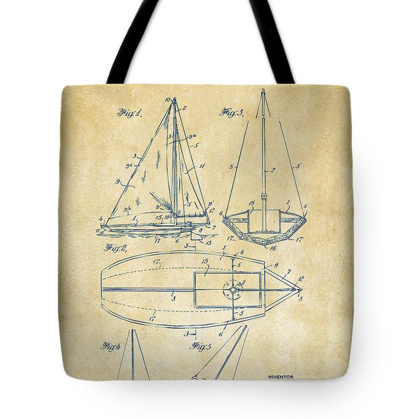 1948 Sailboat Patent Artwork - Vintage Tote Bag by Nikki Marie Smith