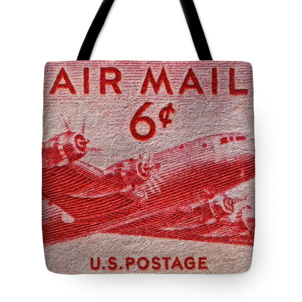 1949 Dc-4 Skymaster Air Mail Stamp Tote Bag by Bill Owen