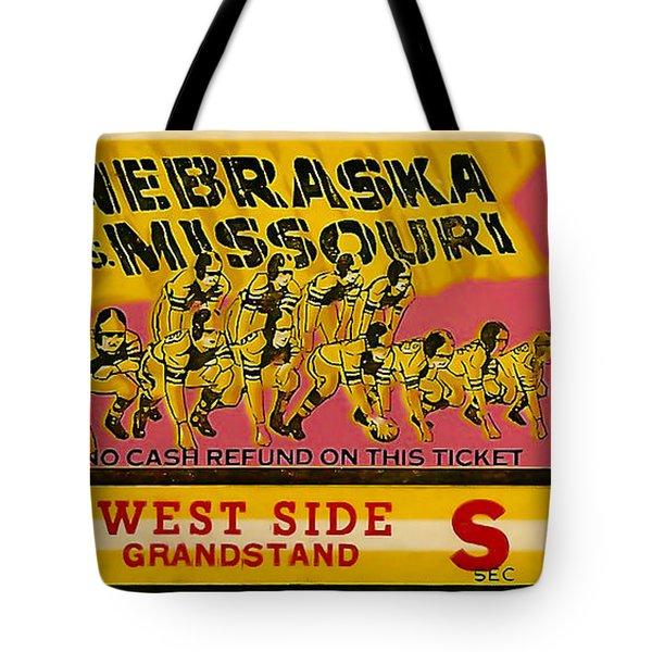 1949 Football Ticket - Nebraska Vs Missouri Tote Bag by David Patterson