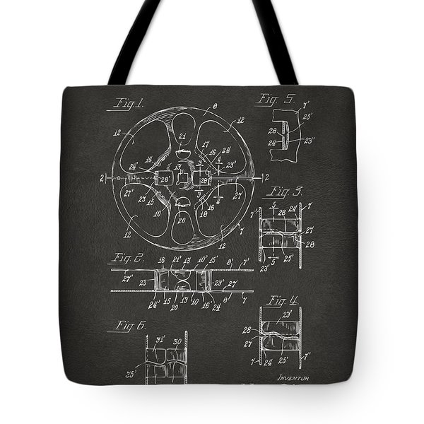 1949 Movie Film Reel Patent Artwork - Gray Tote Bag by Nikki Marie Smith