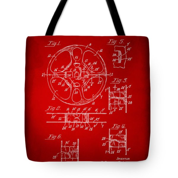 1949 Movie Film Reel Patent Artwork - Red Tote Bag by Nikki Marie Smith