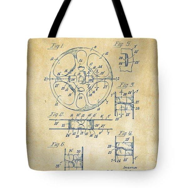 1949 Movie Film Reel Patent Artwork - Vintage Tote Bag by Nikki Marie Smith