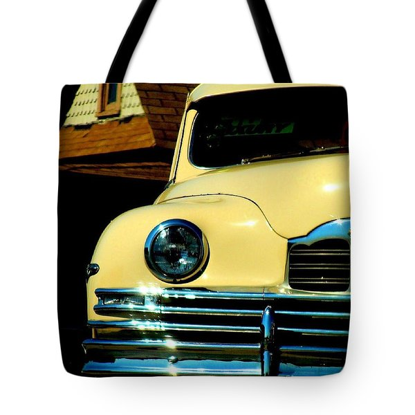 Tote Bag featuring the photograph 1950 Yellow Packard by Janette Boyd