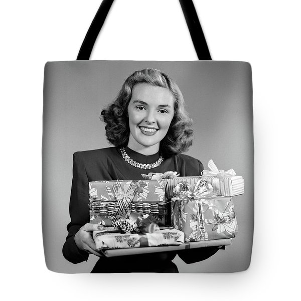 1950 1950s Woman Holding Pile Tote Bag