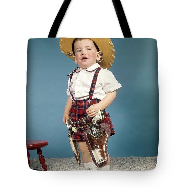1950s 1960s Little Boy Wearing Cowboy Tote Bag