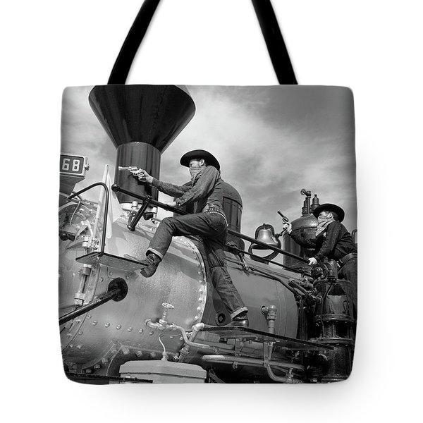 1950s 1960s Two Cowboy Bandits Western Tote Bag