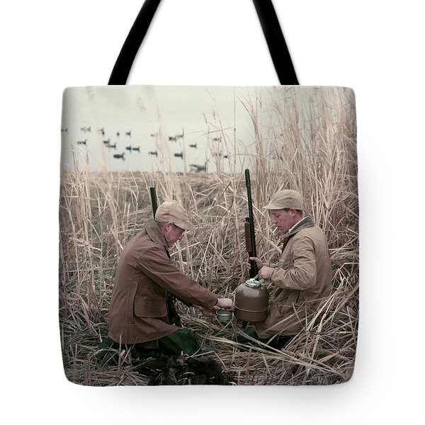 1950s 2 Men Hunters Tall Grass Reeds Tote Bag