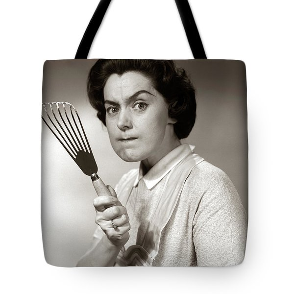 1950s-60s Portrait Of Angry Housewife Tote Bag