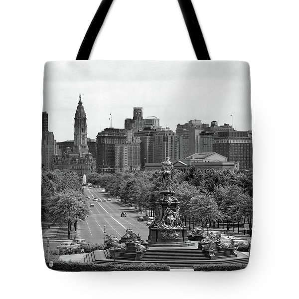 1950s Benjamin Franklin Parkway Looking Tote Bag