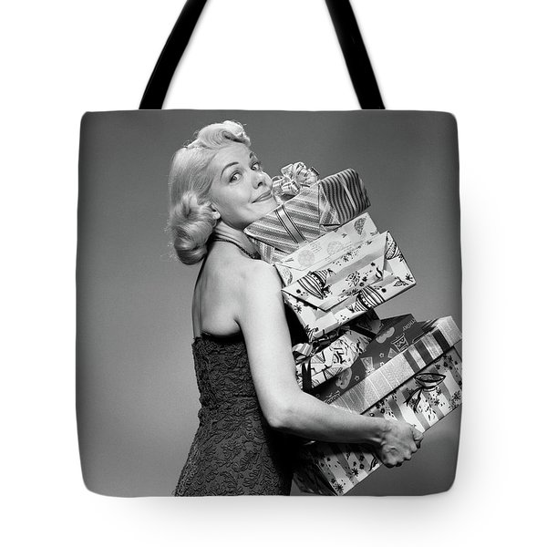 1950s Blond Woman Strapless Dress Tote Bag