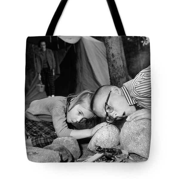 1950s Boy Girl Blowing On Campfire Tote Bag