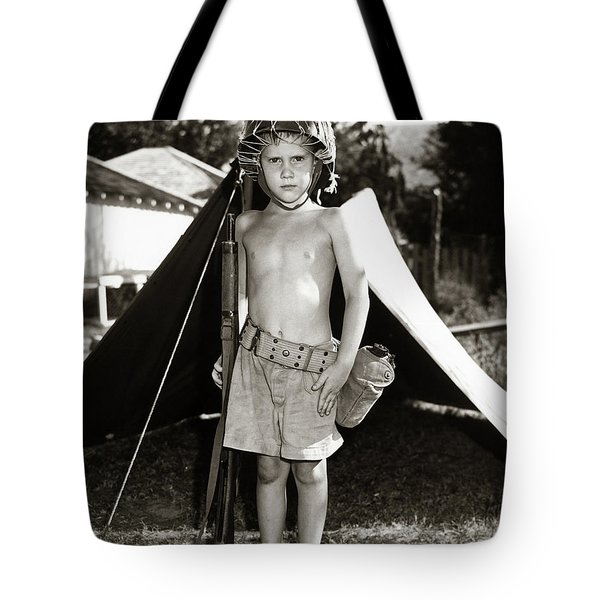 1950s Boy Playing Soldier Standing Tote Bag